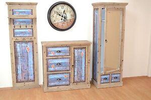 garderoben set 3 tlg vintage schuhschrank garderobenschrank paneele ebay. Black Bedroom Furniture Sets. Home Design Ideas