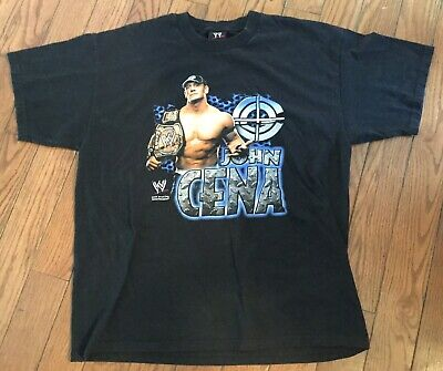 1073ebcf John Cena WWE Authentic Wrestling Black T-shirt Men's XL Vintage   eBay