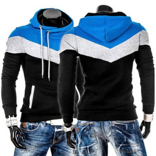 Mens Winter Hoodies Slim Fit Warm Hooded Sweatshirt Coat Jacket Outwear Splicing