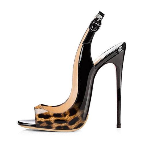 Onlymaker Women/'s Peep Toe Slingback Sandals Pumps High Heeled Leopard Stilettos