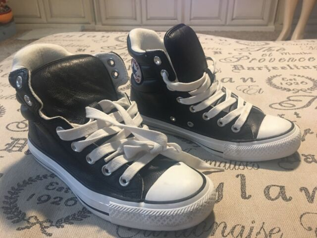 Converse Chuck Taylor All Star Leather Hi Black Sneaker 109206 Men 4 Women's 6
