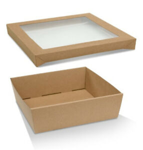 10-PACK-250-x-250-80mm-deep-MEDIUM-SQUARE-KRAFT-CATERING-TRAY-BOXES