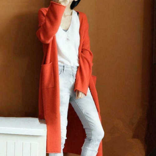 New Women/'s Autumn Cashmere Cardigan Long Sweater With Pockets Loose Coat 2019