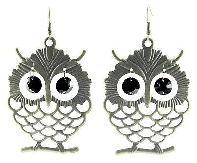 C1135 hollow owl black circle bead eye cute women dangle hook earrings hot sell