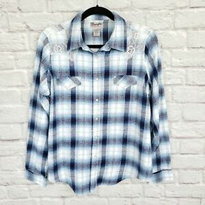 Vintage-Wrangler-Wrancher-Blue-Plaid-Western-Pearl-Snap-Flannel-Shirt-Size-XL