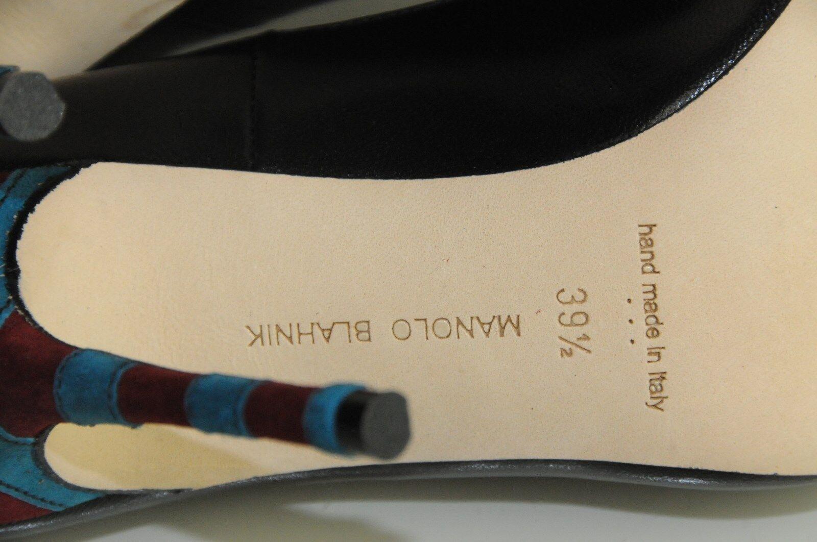 Neuf Manolo Blahnik Timbro Bb Talon Noir Noir Noir 105 Bordeaux Bleu Canard 1e73ca