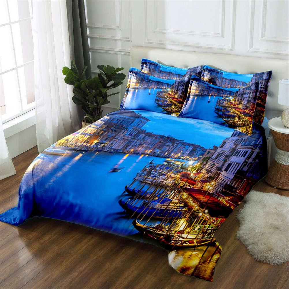 City Neon Lamp 3D Printing Duvet Quilt Doona Covers Pillow Case Bedding Sets