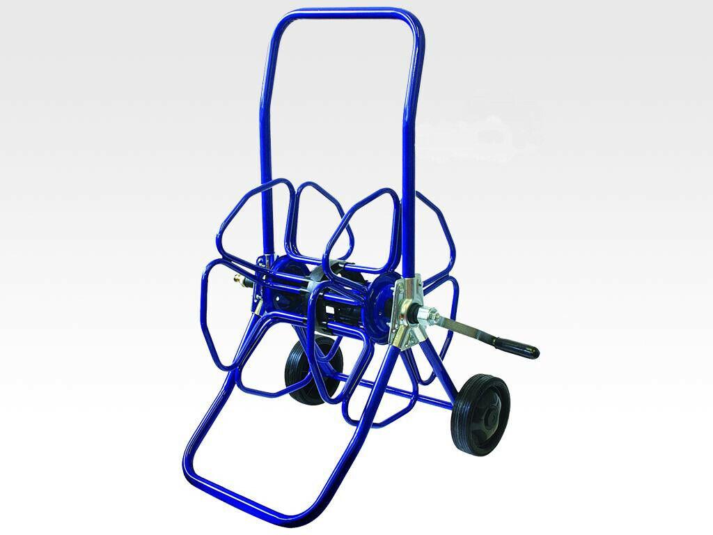 Blau Schwerlast-Metall Schlauchhaspel mit Rädern - nur Rolle