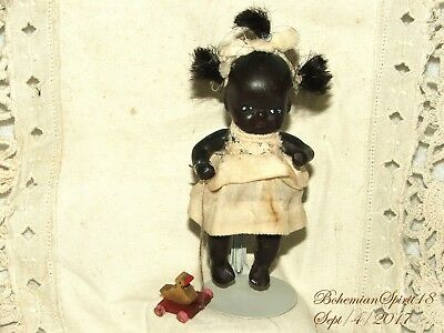 ANTIQUE JAPAN 30's BLACK AMERICANA MINIATURE GIRL BISQUE DOUBLE JOINTED 4'' DOLL