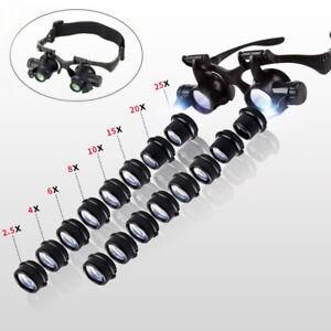 2-5X-25X-Uhrmacherlupe-Juwelier-Lupe-Brillenlupe-Kopflupe-Lupenbrille-mit-LED