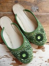 Emerald Green Indian Pakistani Khussa Slippers Wedding Beaded Flat Shoe uk7