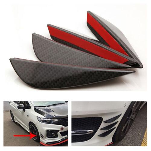 4 Pcs Universal Carbon Fiber Style Auto Front Bumper Lip Canards Splitters Trim