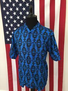vtg-90s-Tribal-Polyester-Arcade-Gamer-Geek-Hawaiian-Shirt-mens-MEDIUM-nerd-18951