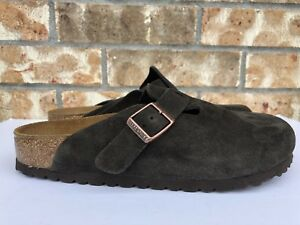 596997ea2a7a Details about Women s Birkenstock Boston Clog Super Grip Suede Leather Mocha  Size L7 0060901