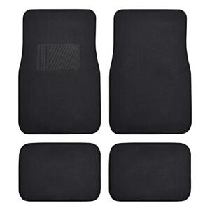 4 PC Car Floor Mats set Carpet Floor Protection - Black Comfortable Cushion