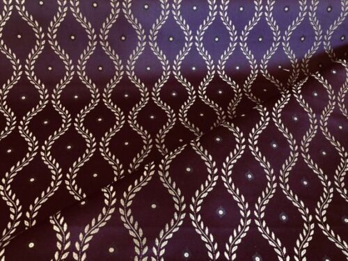 Purple Plum Gold Brocade Damask Trellis French Empire Vine Upholstery Drapery