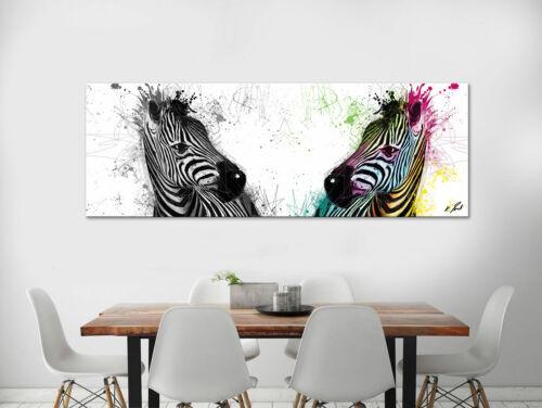 Panorama Bild Tiere Zebra Leinwand Abstrakte Kunst Bilder Wandbilder XXL D1981