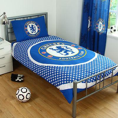 Chelsea FC Football Blue Boys Childrens Reversible Duvet Quilt Cover Bedding Set