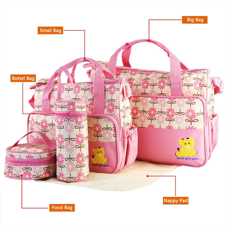 5Pcs Baby Diaper Bag Tote Set w/Nappy Changing Pad Bag Handbag Insulated Pockets