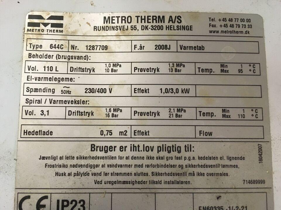 Varmtvandsbeholder, metro