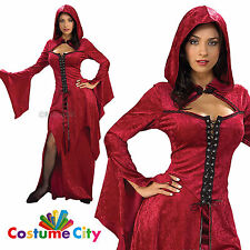 Adult Womens Crimson Vampira Vampire Halloween Fancy Dress Party Costume