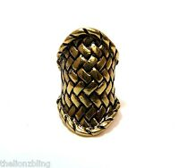 Chunky Gothic Hip Hop Antique Bronze Braided Metal Design Stretch Bling Ring
