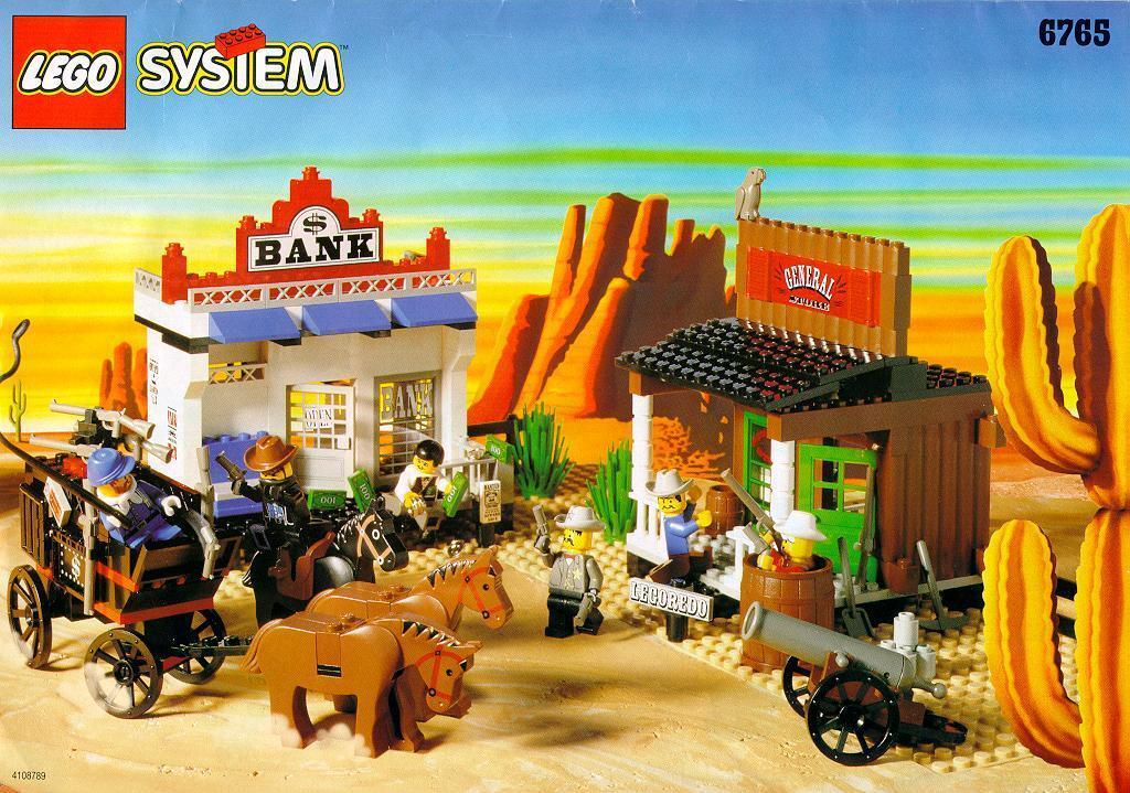 Lego Western Cowpojkar 6765 guld City Junction NY Sealead Ships värld Wide