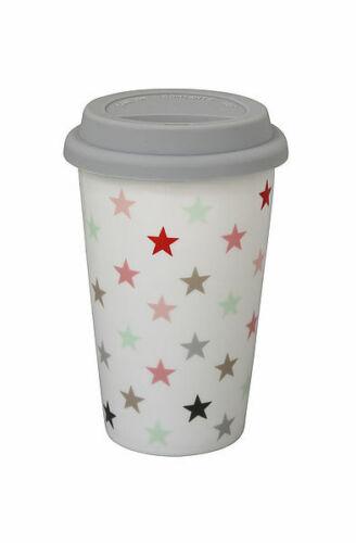 Coffee to go Becher Kaffeebecher Porzellan Travel Mug Silikondeckel Reisebecher