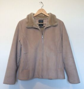 New M/&S Collection Khaki Leather Look Shearling Biker Jacket UK 10 12 16 18