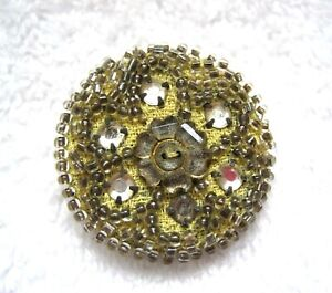 Older-Larger-Hand-Beaded-w-Rhinestone-Floral-Fabric-Button-1-1-4-034-Yellow-amp-Clear