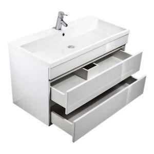Badezimmer Waschtisch mit 100cm Unterschrank Waschbecken Hochglanz ...
