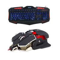 7 Color Led Backlit Gaming Keyboard+4800dpi Led 10 Button Pro Gamer Mice Mouse on sale