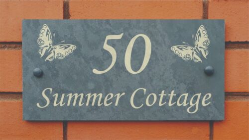 slate house name number sign with butterflies design
