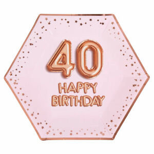 8-Rose-Gold-Glitz-9-034-Paper-Plates-40-Happy-Birthday-Ladies-40th-Party-Tableware