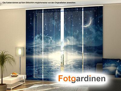 Fotogardinen Nacht, Flächenvorhang, Schiebegardinen mit Motiv, auf Maß