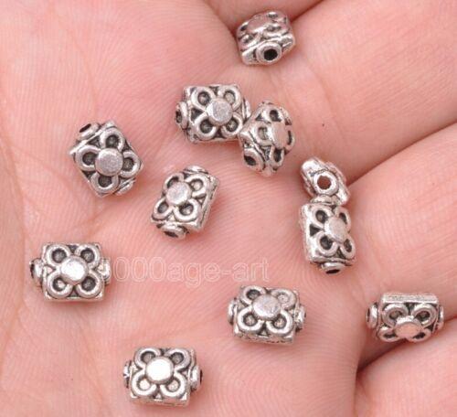 30pcs Tibetan silver rectangular flower bead loose spacer beads10x10mm A3103