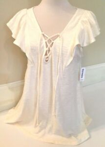 Old-Navy-Women-039-s-Cream-Lace-Up-Short-Sleeve-Shirt-Size-XS-S-M-amp-L-MSR-24-99