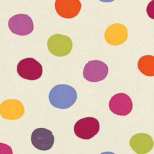 Cotton-100-Curtain-Bedding-Cover-Fabric-Ugly-Polka-Multi-Colored-dot-Purple-44