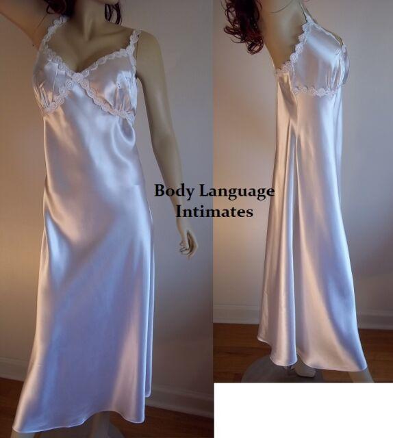 2x Bridal White Satin Long Nightgown Lingerie Plus Size 2x | eBay