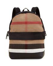 Brand New Burberry Tiller Check & Leather Backpack, Black