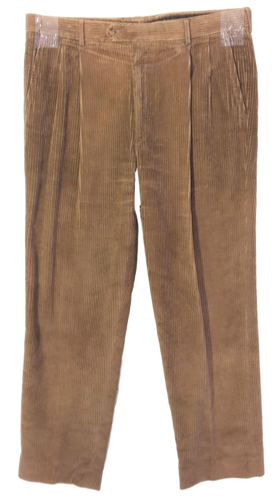 NEW Saks Fifth Avenue Straight Leg Corduroy Pants Mens Sz 36 x 31 - Tan C3236