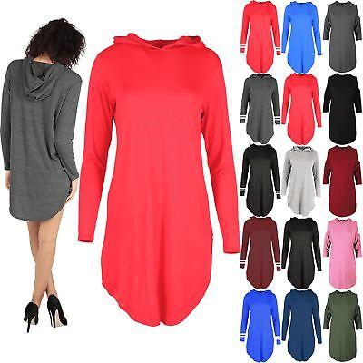Womens Ladies Long Sleeves Curved Hem Hoodies Plain Loose Baggy Dress Plus Size
