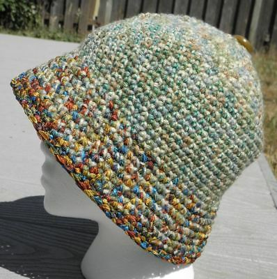 Elegant Green Mix Colors Medium Size Crocheted Cloche - Handmade by Michaela