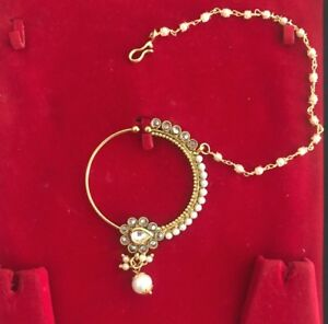Non Piercing Bridal Nose Ring Wedding Wear Round Kundan Nath With