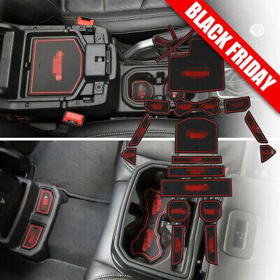 Inner Door Slot Mat Pad Cup Holder Red Anti-Slip For 2018 2019 Jeep Wrangler JL