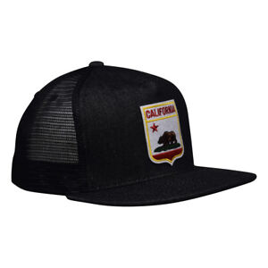 e86daaa9734be Image is loading California-Republic-Trucker-Hat-Black-Denim-Hat-with-