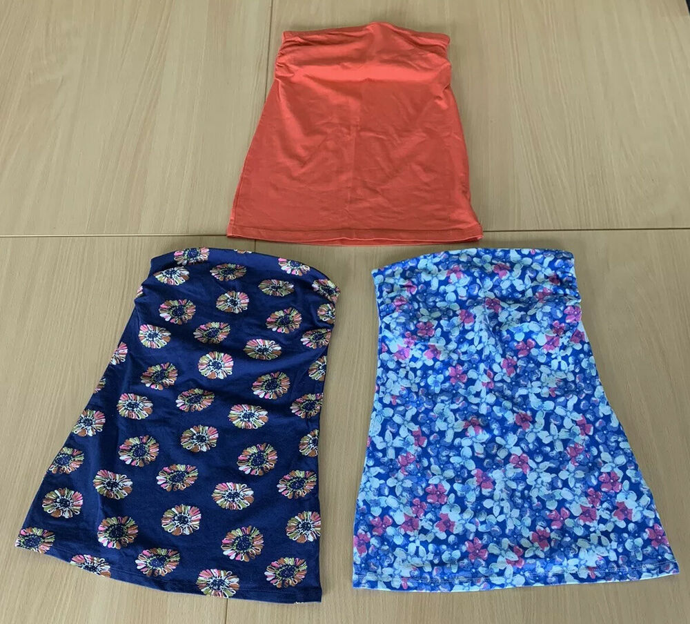 2 X Matalan Floral Bleu 1 X Primark Orange Bandeau Boob Tube Tops Taille 8 Neuf