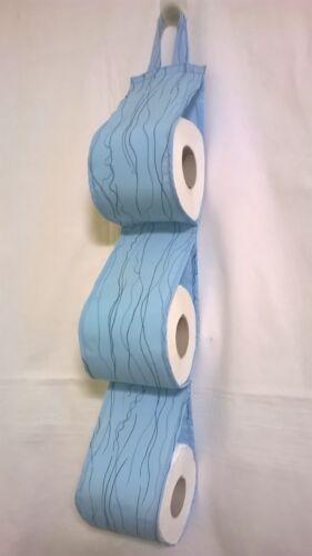 Fabric Toilet Roll Holder Storage Organiser For 6 Rolls Blue Waves