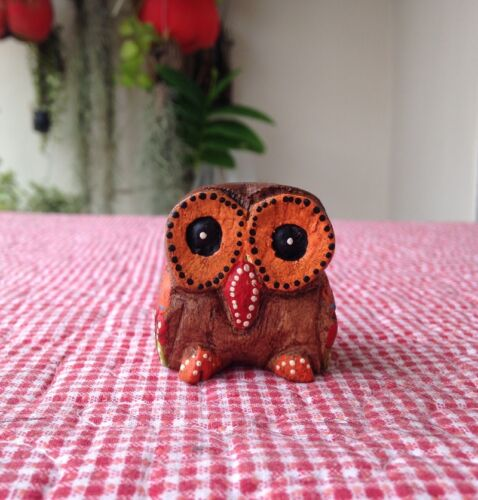 1 LUCKY OWLS BIRDS THAI WOODEN CARVED HANDMADE CRAFT GIFT FREE SHIP
