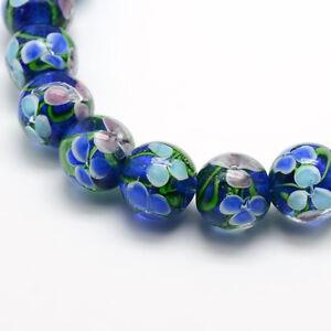 10-Pcs-Blue-Handmade-Inner-Flower-Lampwork-Round-Beads-Strands-11x12mm-Hole-2mm